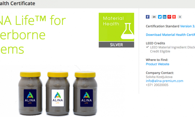 Material Health Certificate - ALINA Life™ for Waterborne Systems